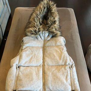 Gap faux Fur hooded Wool Puffer Vest